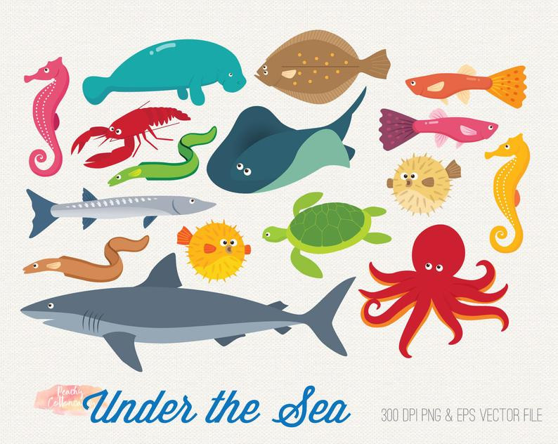 BUY 2 GET 1 FREE Under the sea clipart.