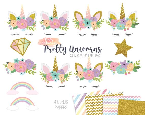 BUY 2 GET 1 FREE 33 pretty unicorn clipart.