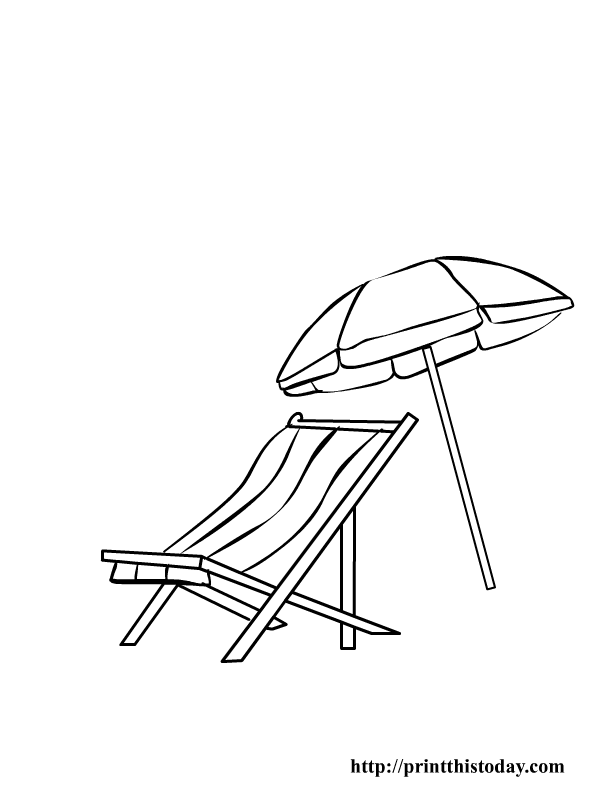 Beach chair and Parasol.