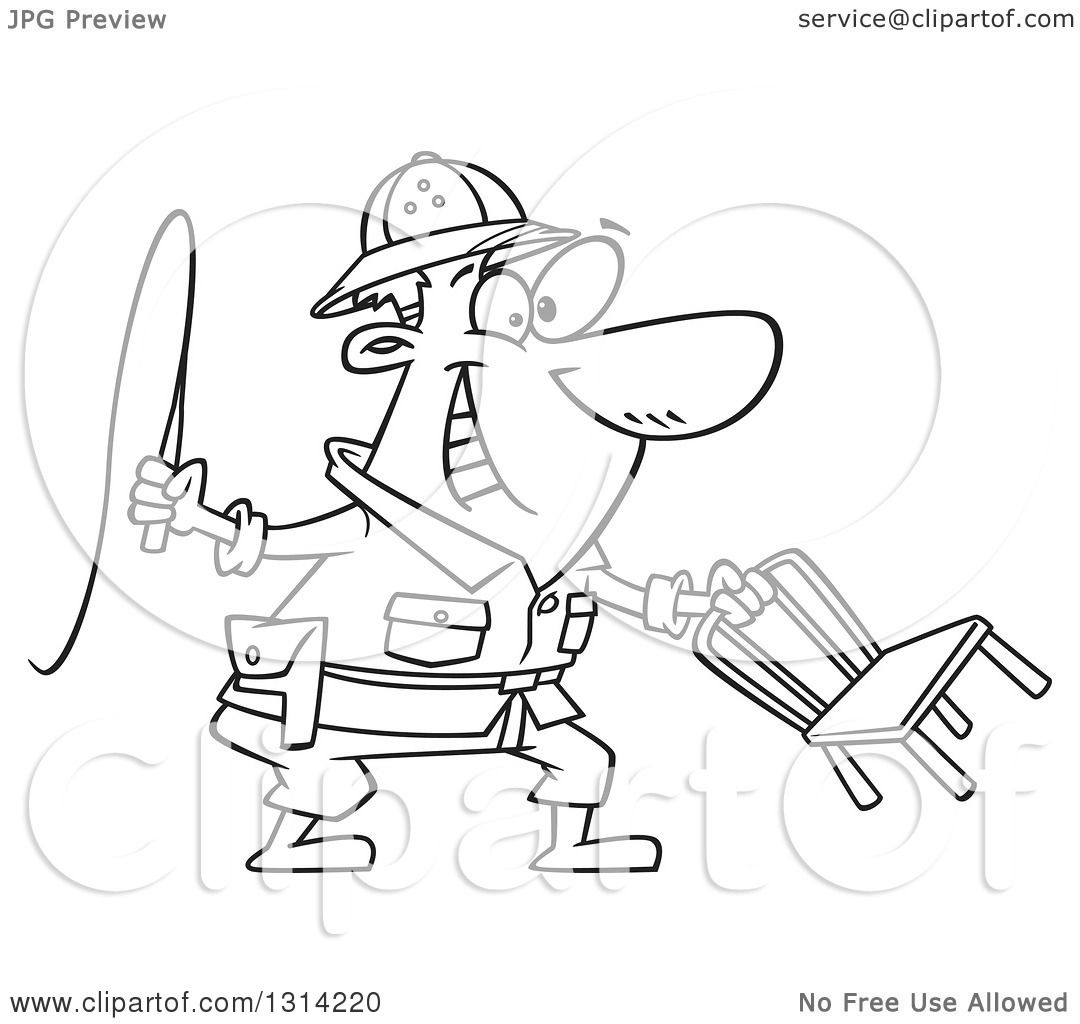 Lineart Clipart of a Cartoon Black and White Lion Tamer Man.