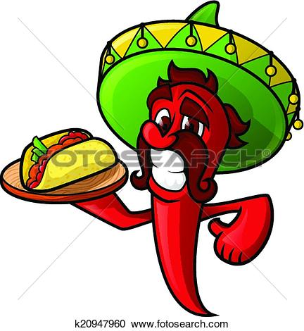 Clip Art of Spicy Food Chili Pepper Stamp k8208219.