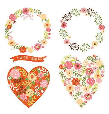 Floral wreath and heart vector love valentine's day designs by.