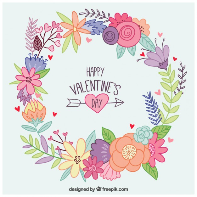 Hand drawn floral wreath valentine day Vector.