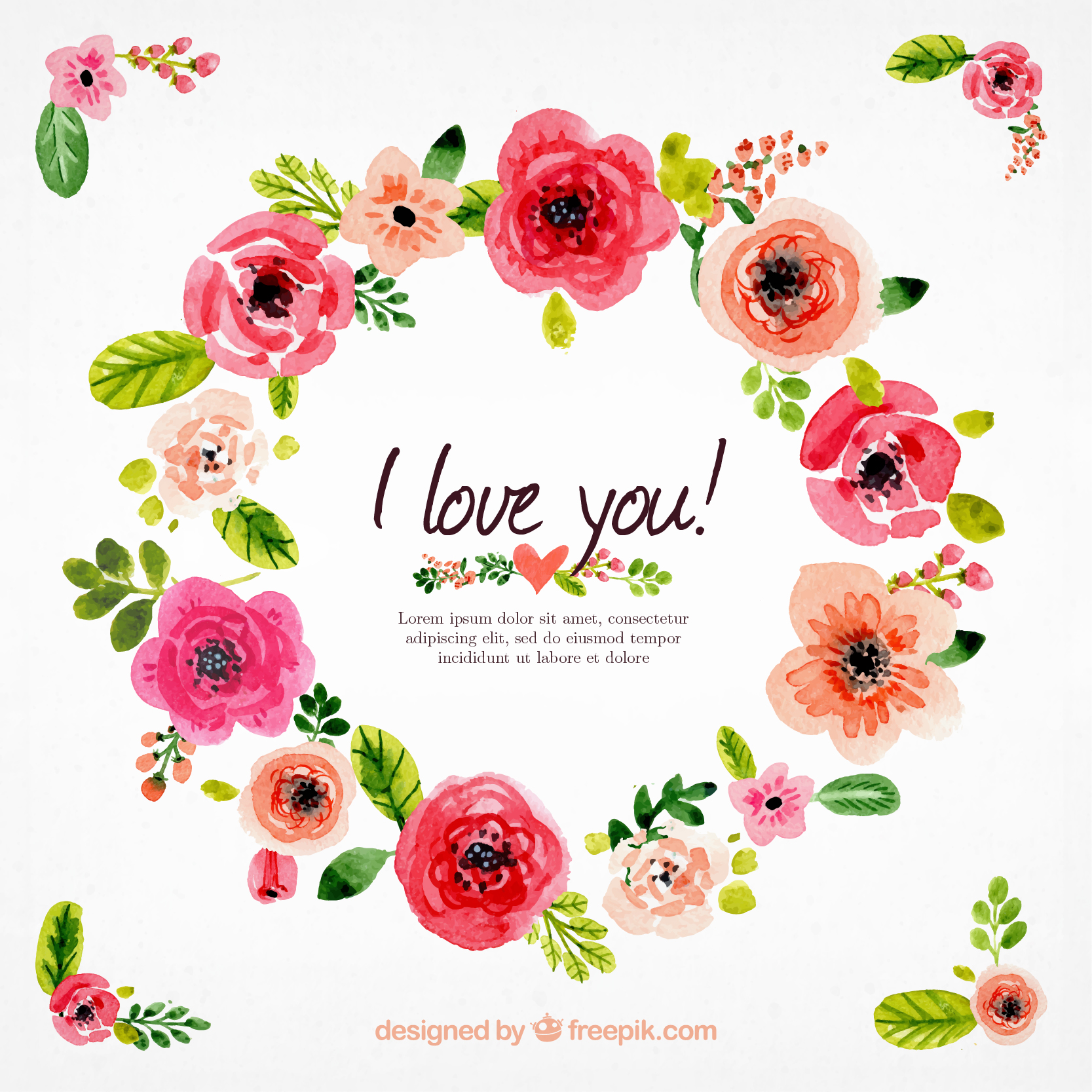 Watercolor floral wreath Free Vector Free download: http://goo.gl.