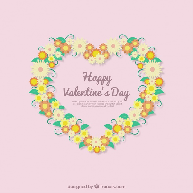 Happy valentine's day background with heart floral wreath Vector.