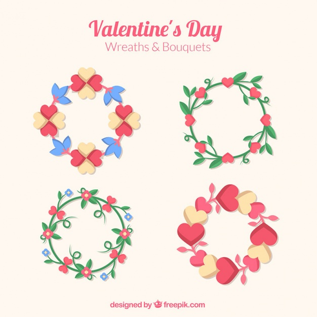 Beautiful floral wreaths with hearts for valentine's day Vector.
