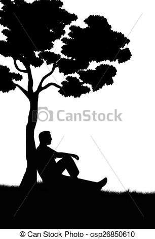 man sitting under a tree clip art.