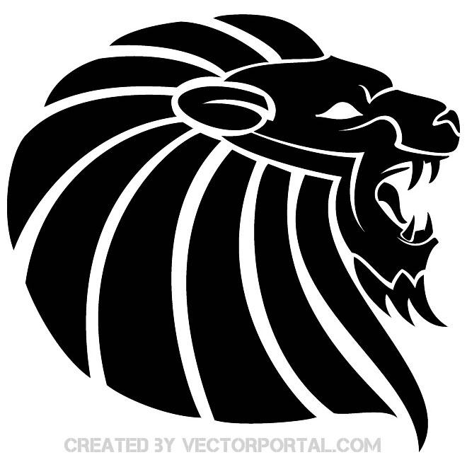 Lion Black Clipart Free Vector.