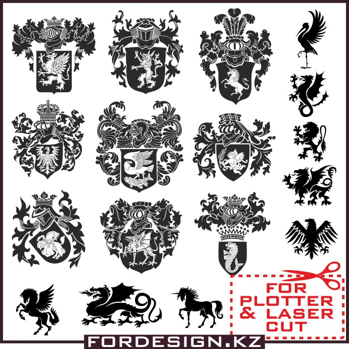 Vector heraldry download free: 17 vector heraldry elements.