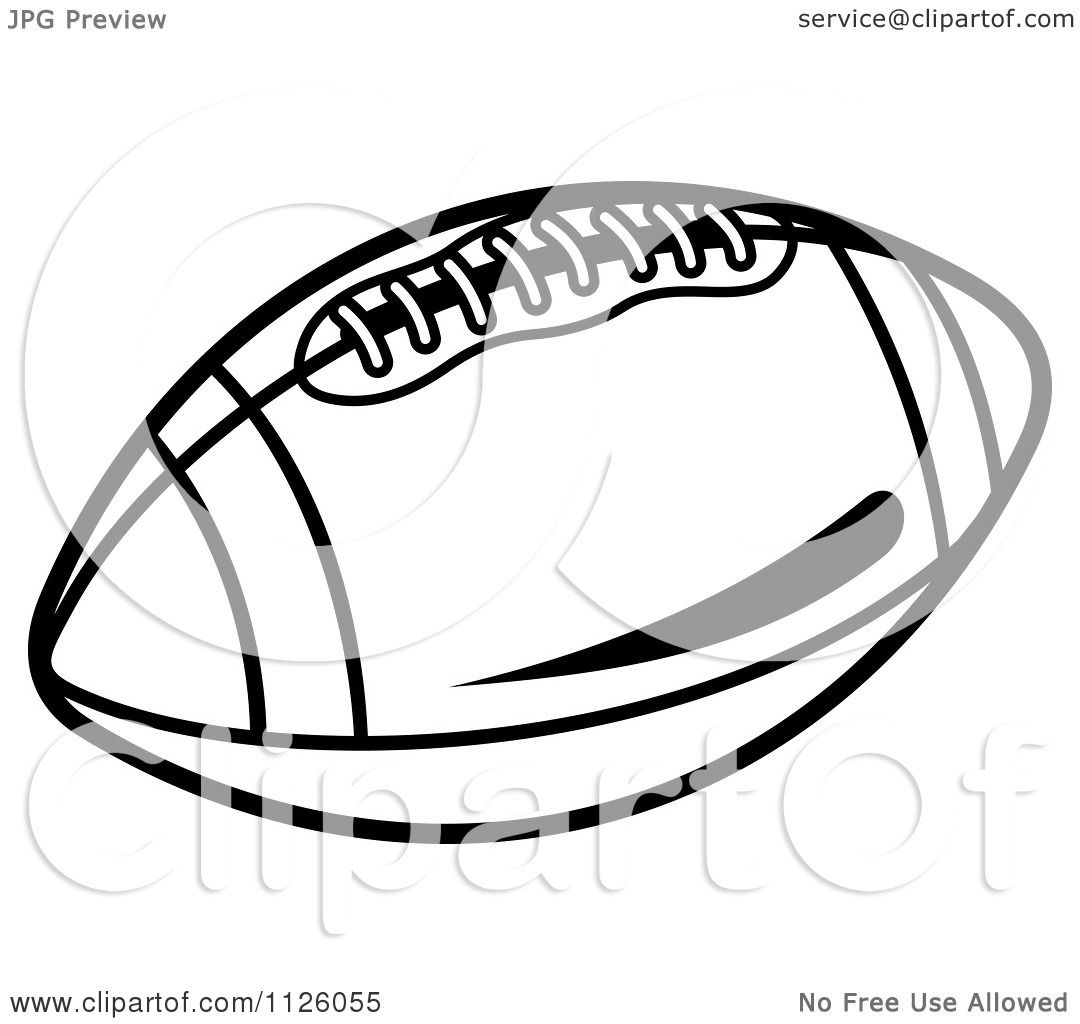 Clipart Of A Black And White American Football 2.