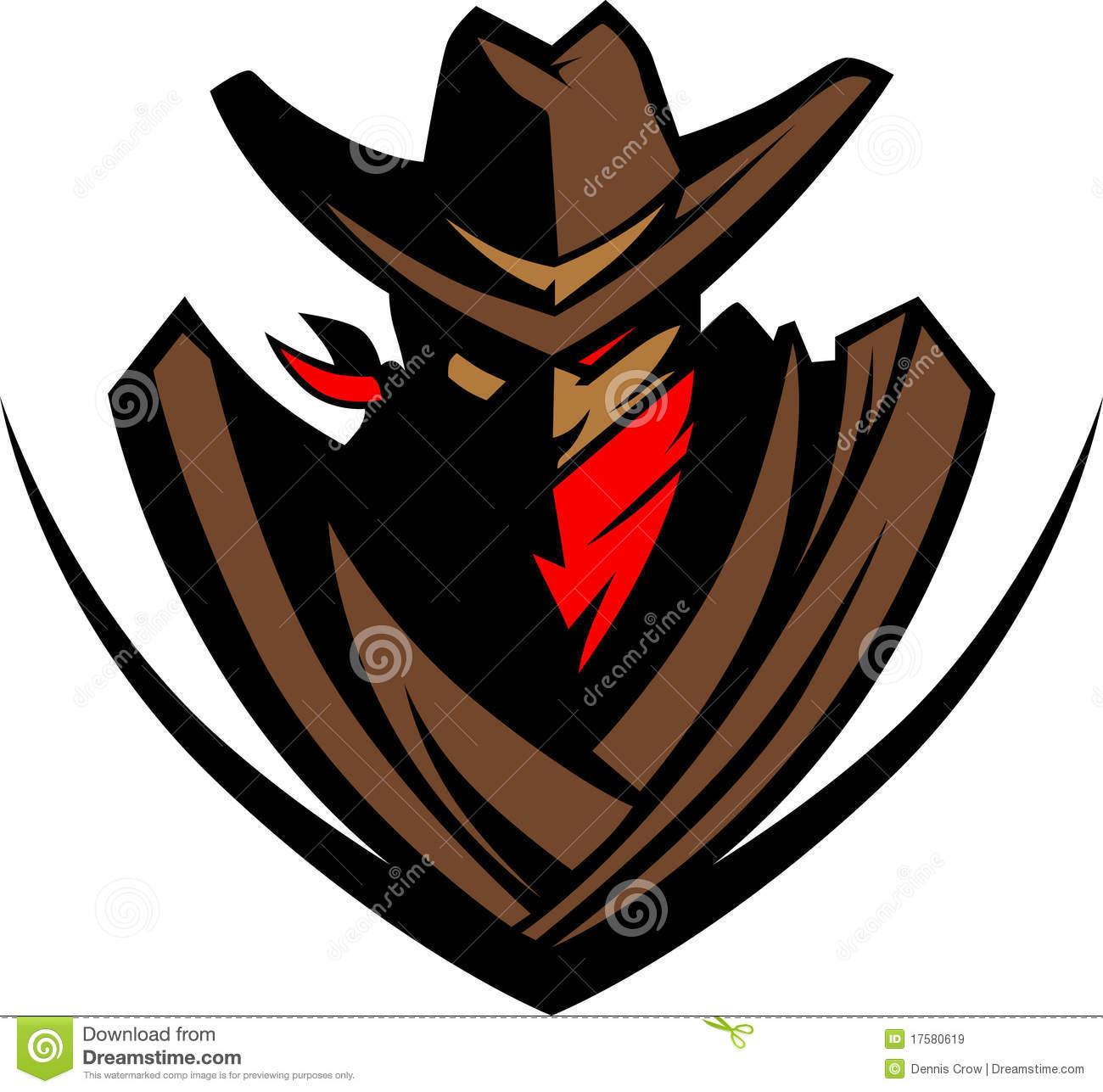 Cowboy Vector Mascot Logo Royalty Free Stock Images.