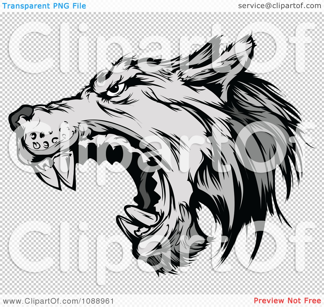 Clipart Attacking Wolf Mascot.