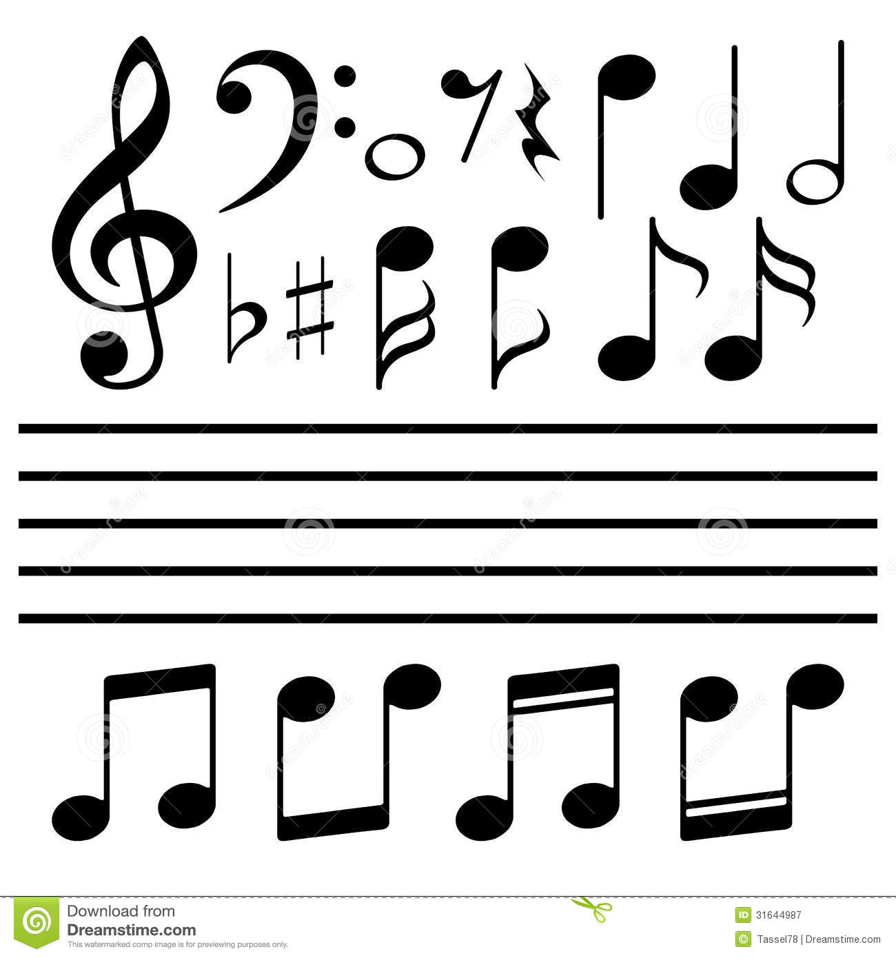 15 Music Notes Vector File Images.