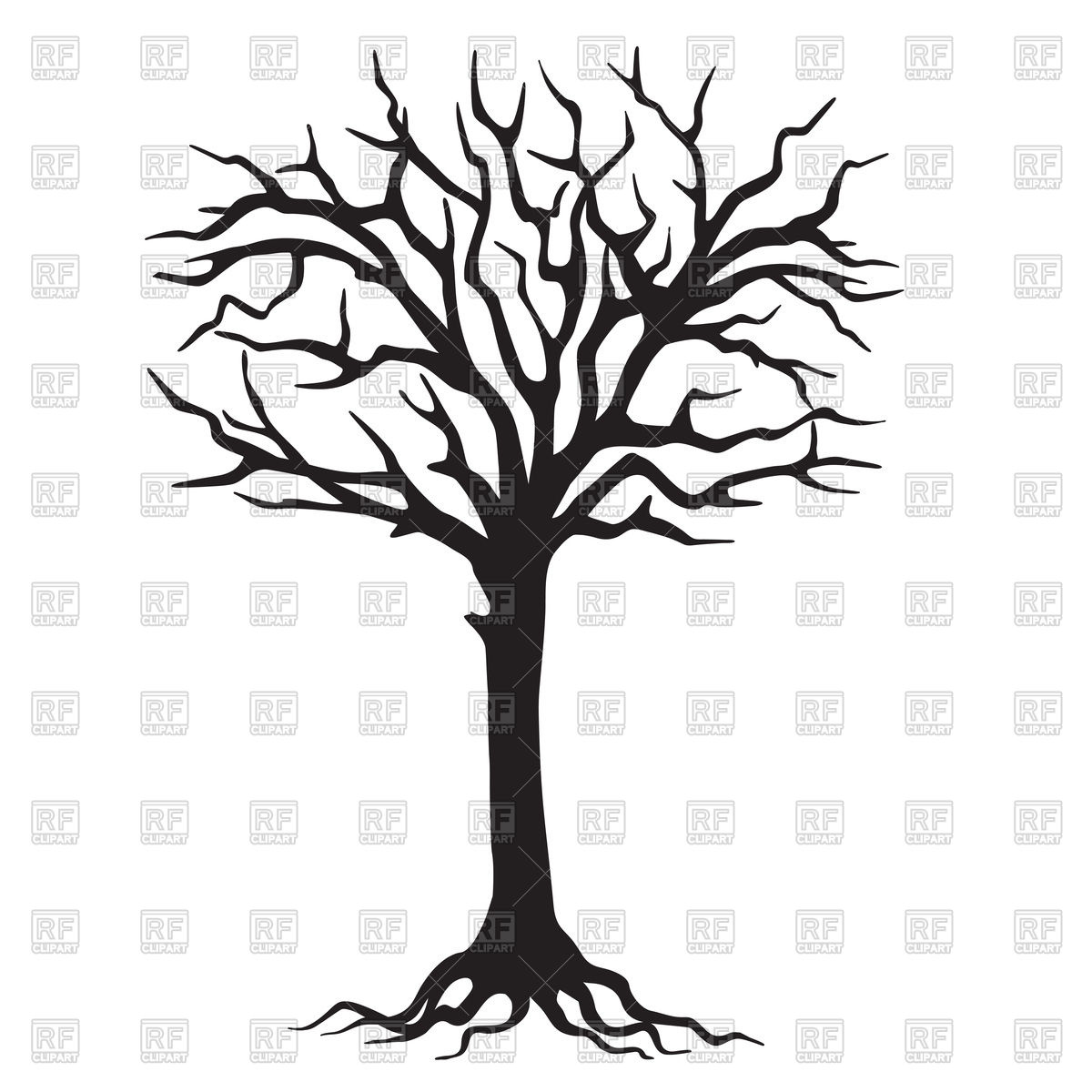 Hand drawn black silhouette tree with roots Stock Vector Image.