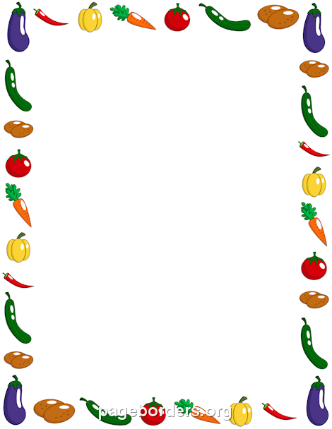 Vegetable Border: Clip Art, Page Border, and Vector Graphics.