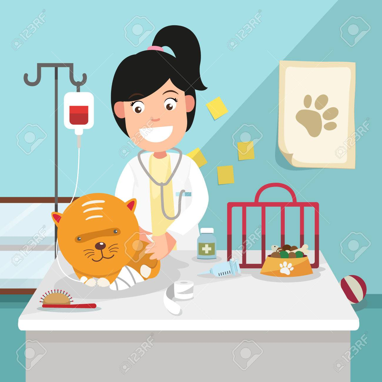 The idea of female veterinarian curing illustration, vector.