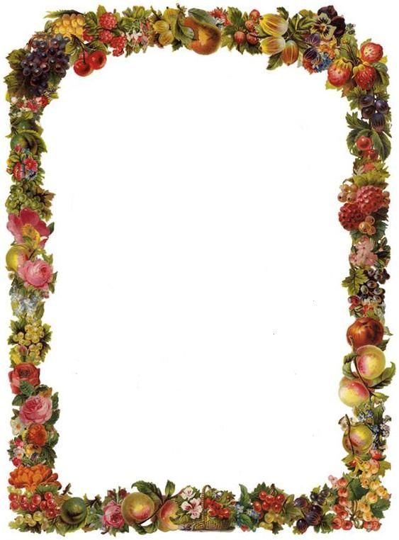 Free Victorian Flowers and Vintage Fruit Clip Art and Borders.