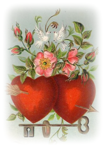 free vintage Valentines clip art doves red hearts pink.