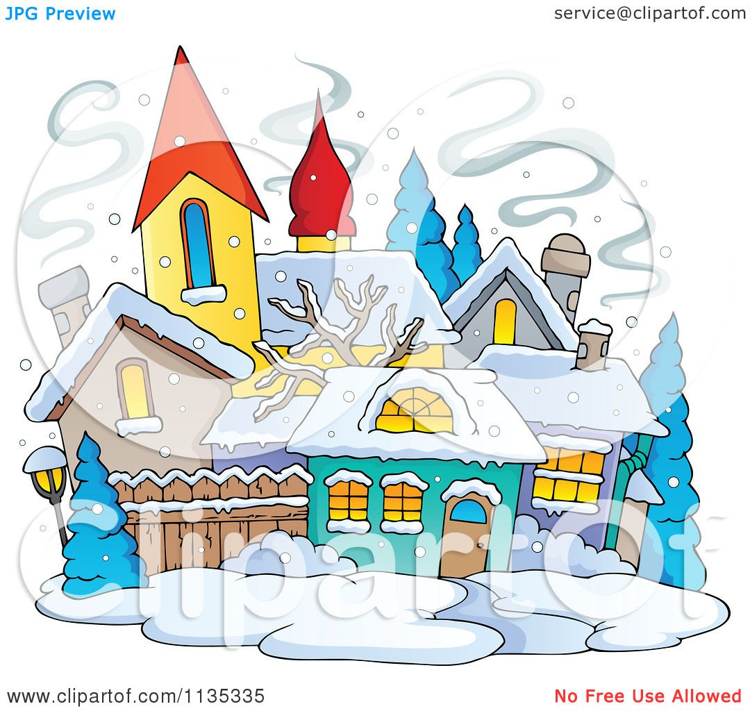 Cartoon Of A Winter Village With Snow.