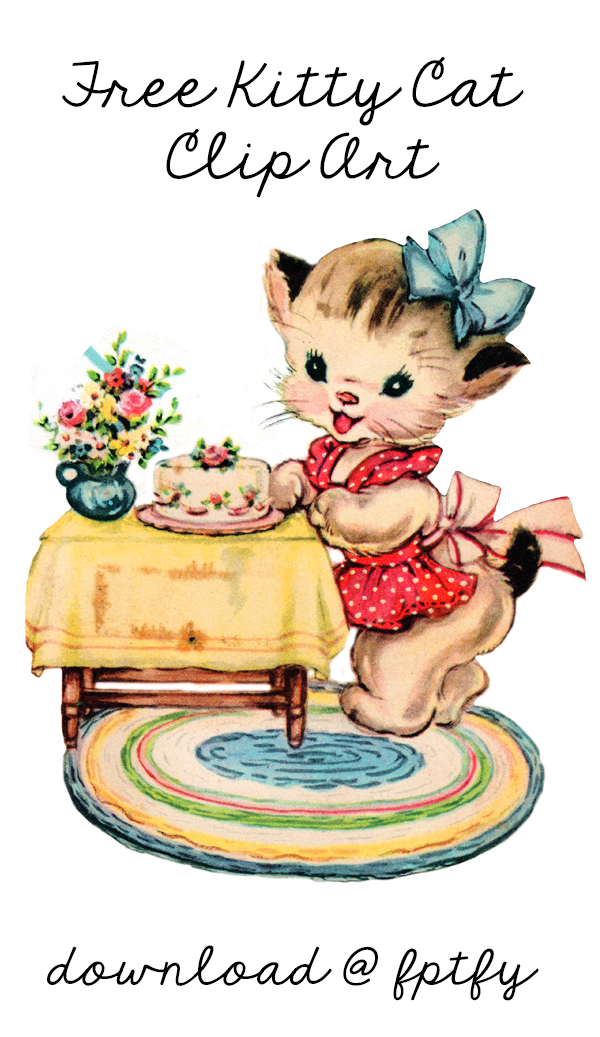 Free Vintage Kitty Cat Clip Art.