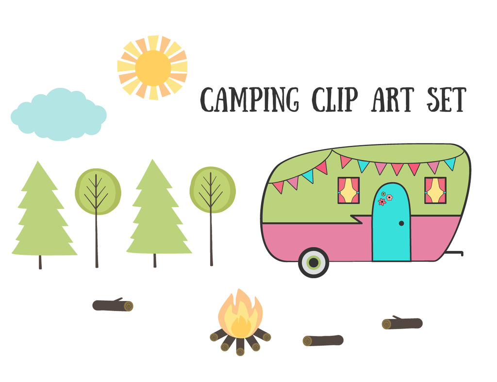 Free Vintage Retro Camping Clip Art Set by.