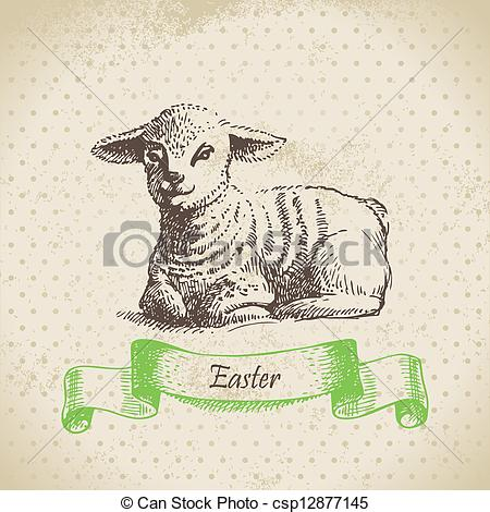 Vintage Easter Lamb Clipart.