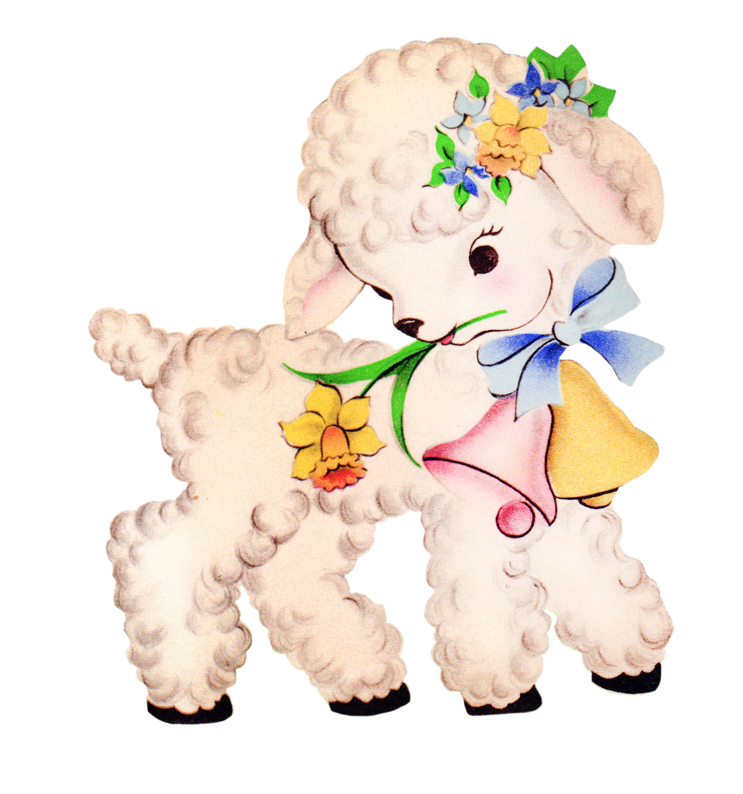 Free Vintage Easter Clipart Lamb.