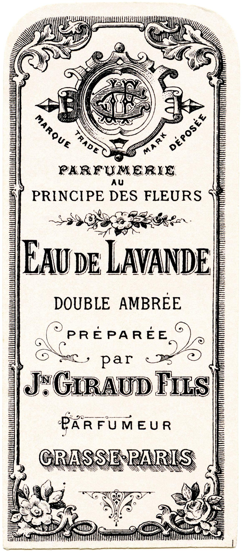 French perfume label, Jn Giraud Fils, vintage French ephemera, eau.