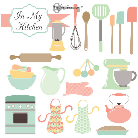 Vintage Cooking Utensils Clipart