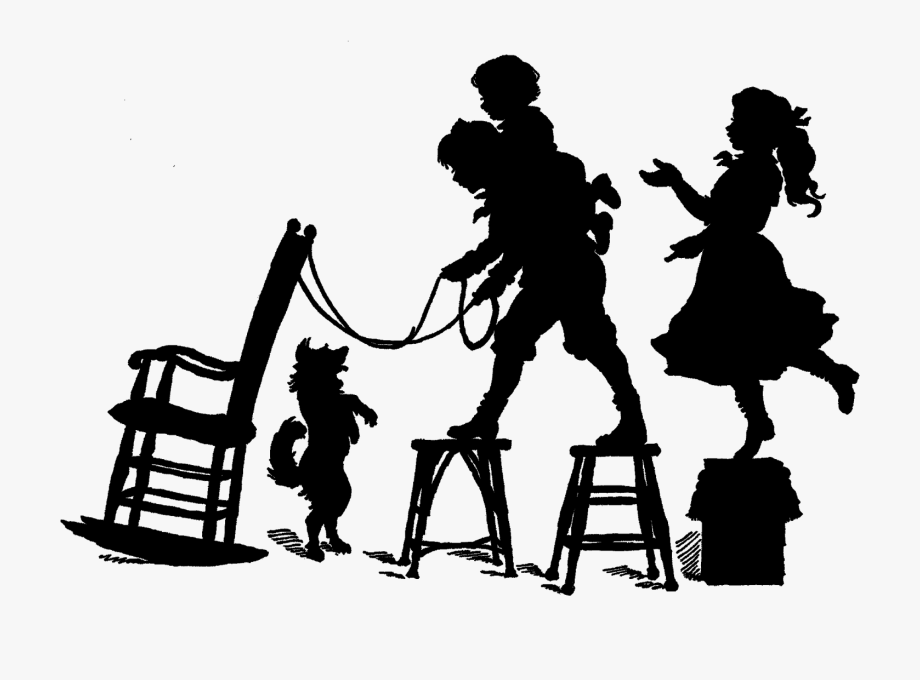 Vintage Silhouette Victorian Children Playing.
