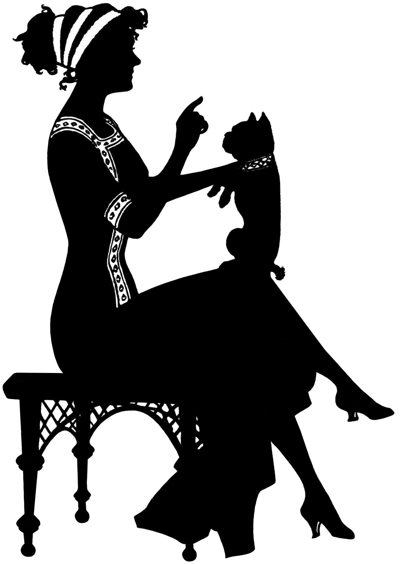 vintage silhouette lady, woman holding dog illustration, black and.
