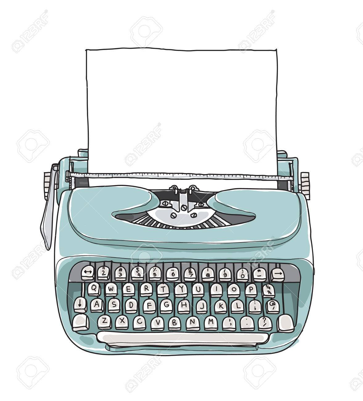 Mint blue vintage typewriter portable retro with paper hand...