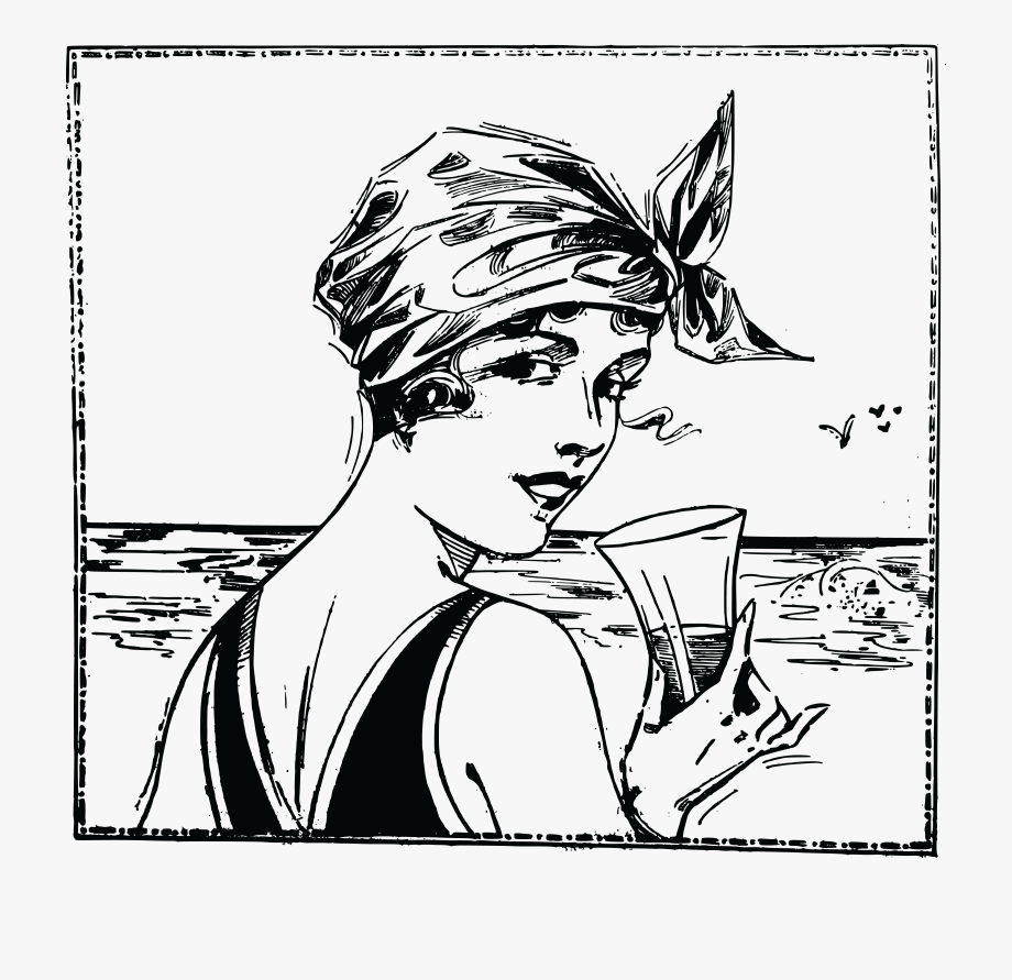 Free Clipart Of A Vintage Woman At A Beach.