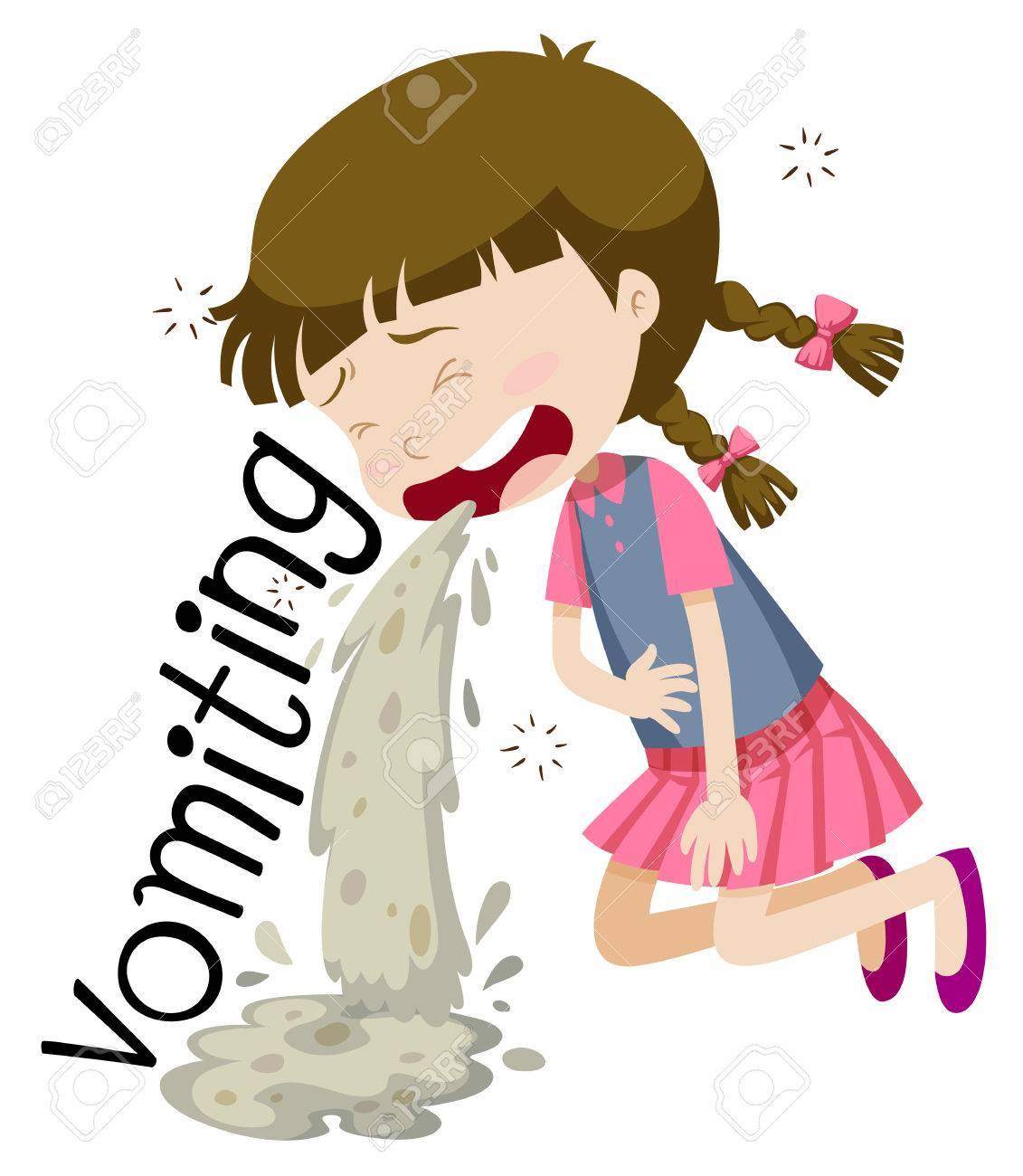 Girl vomiting and feeling sick illustration.