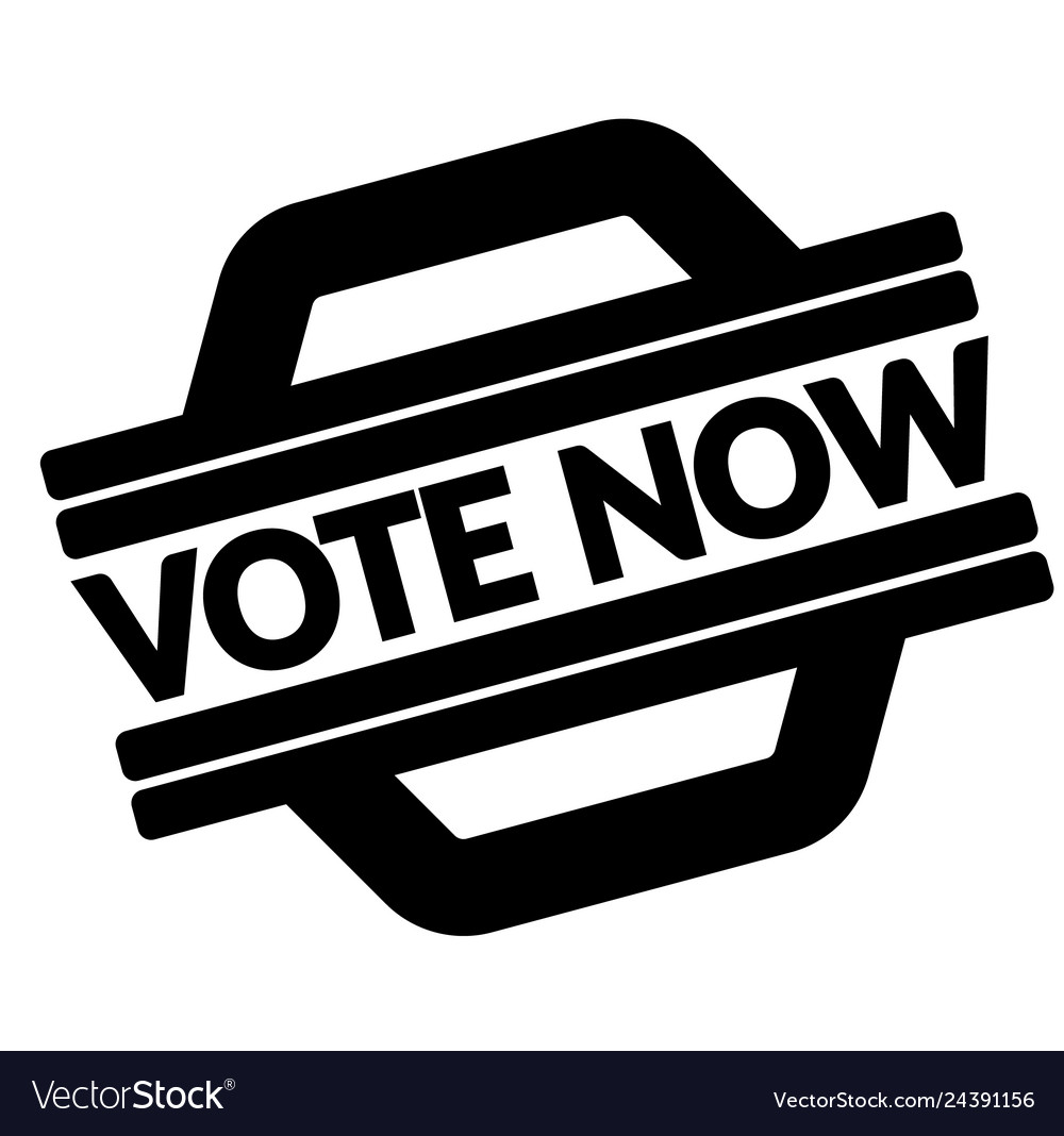 Vote now black stamp.