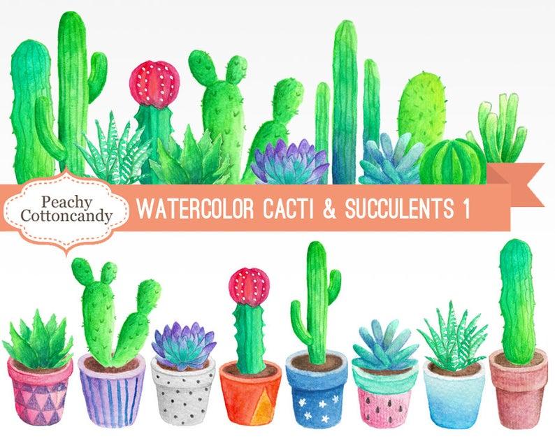 BUY 2 GET 1 FREE Watercolor Cactus Clipart 1.