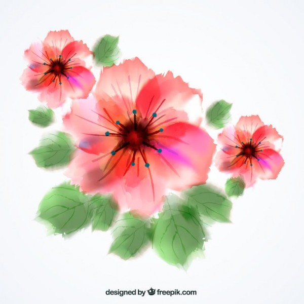 Watercolor Flowers Free Vector.