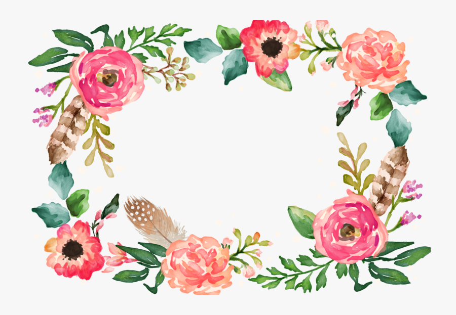 Watercolor Border Flower Painting Illustration Download.