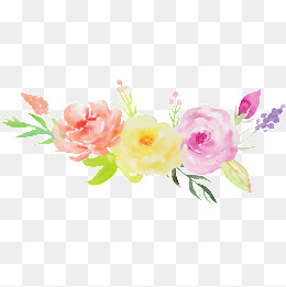 Romantic Watercolor Flowers PNG Images.