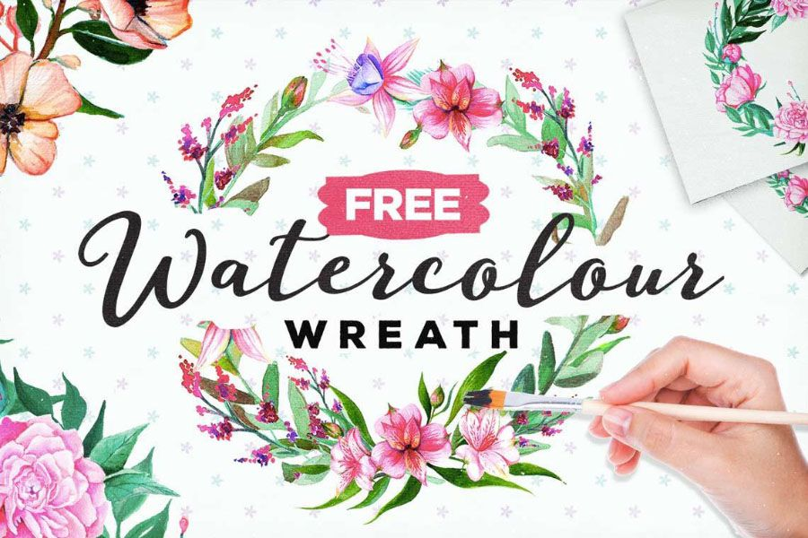 Free Watercolor Floral Wreath.