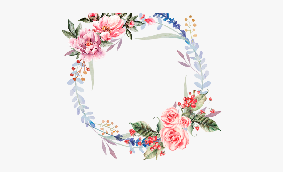 Red Flower Clipart Wreath.