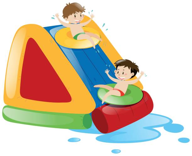 Sliding Down A Slide Clipart.
