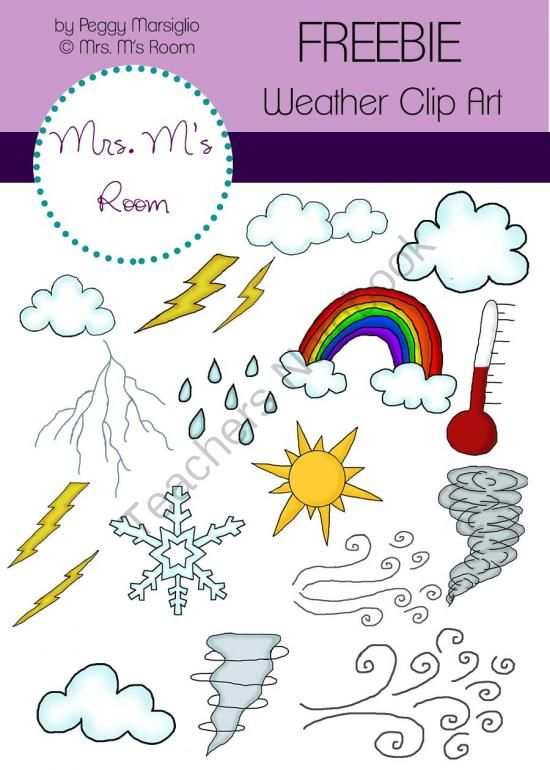 FREE Weather Clip Art Freebie from Mrs. M's Room on TeachersNotebook.