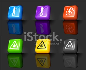 Severe Weather Warning Internet Royalty Free Vector Icon Set.