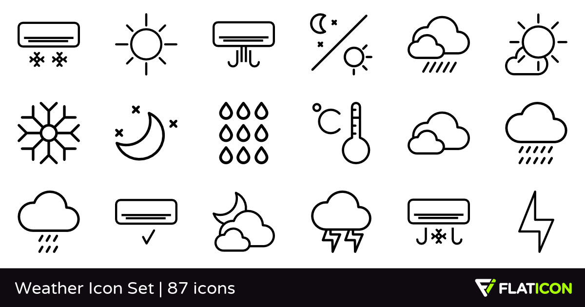 Weather Icon Set 87 free icons (SVG, EPS, PSD, PNG files).
