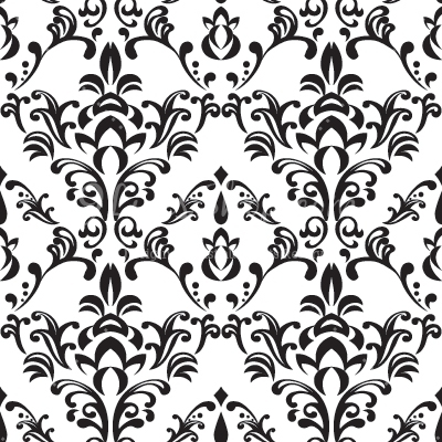 Simple Free Black and White Damask Vector Pattern.