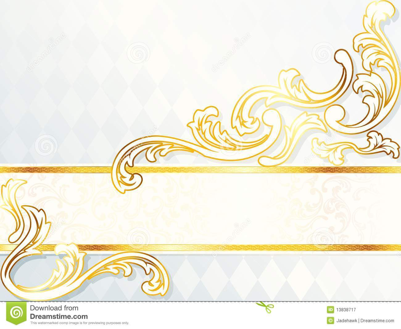 Beautiful Horizontal Rococo Wedding Banner Royalty Free Stock.