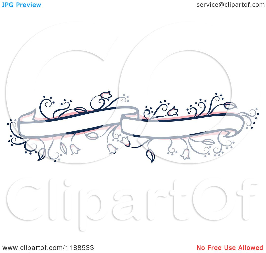 Clipart of a Pink and Blue Floral Wedding Ribbon Banner.