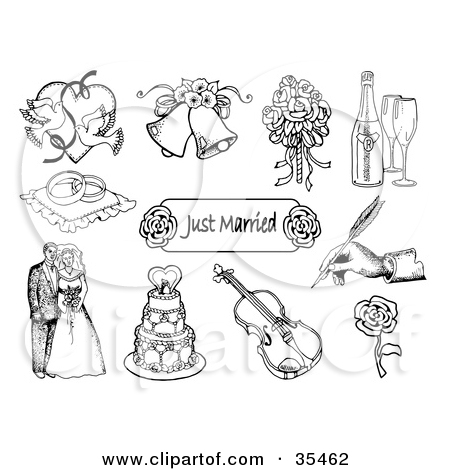 Clipart Illustration Of A Black And White Tiered Wedding Cake With.