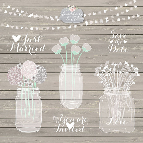 Hand Draw Mason Jar Wedding Invitation Clipart Rustic